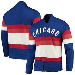 Chicago Cubs Mitchell And Ness Front Stripe Full-zip Sweater - Royal
