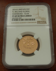 Great Britain 2014 Gold 1 Pound Ngc Pf69uc North Ireland Floral Mintage 275