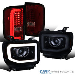 For Gmc 14-17 Sierra Black Led Drl Projector Headlights+red/smoke Led Tail Lamps