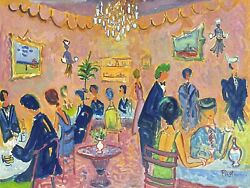 Superb 1980and039s French Modernist Signed Oil - Busy Restaurant Interior Scene