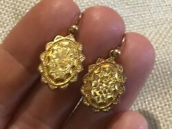 Rareantiquevictorian9ct Gold Engraved Ornate Forget Me Not Mourning Earrings
