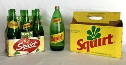 Lot Of Vintage Squirt Liter And 12 Oz Advertising Soda Pop Bottles W/ 2 Carriers