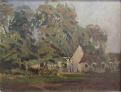 Signed 1904 István Bosznay 1868-1944 Oil Painting Impressionist House Trees