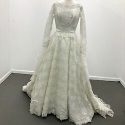 Vintage 1980's Alfred Angelo Women's Ivory Lace Multitiered Wedding Dress