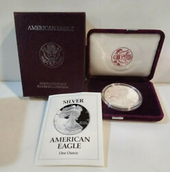 1993-p American Eagle 1 Proof Silver Dollar 1 Troy Ounce Coin Box And Coa  Mg