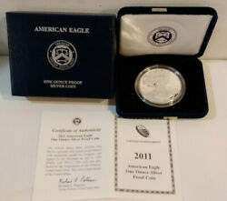 2011-w American Eagle 1 Proof Silver Dollar 1 Troy Ounce Coin Box And Coa  Mg