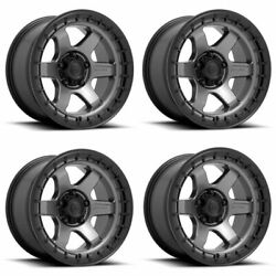 Set 4 17 Fuel D752 Block 17x9 Matte Gunmetal Black Ring 6x135 Wheels 1mm Rims