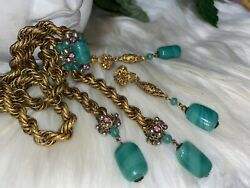 Miriam Haskell Green Peking Glass Asian Style Necklace Earring Set A 12