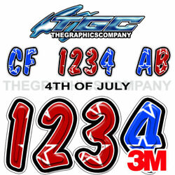 4th Of July Custom Boat Registration Numbers Decals Vinyl Lettering Stickers