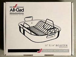 All-clad Roaster With Rack Stainless Steel Dishwasher Safe Small 11x14 New Offer