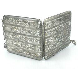 Art Deco German Silver Dance Purse Compact Coin Pencil Wrist Chain Floral Chased