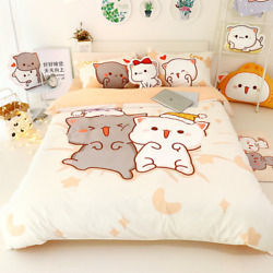 4pcs Set Cat Bed Sheet Cotton Bedding Set Cover Twin Queen Size For Girl Bed Set
