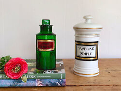 Mix And Match Antique French Apothecary Jars | Green Ribbed Poison Apothecary
