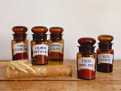 Set Of 5 Antique French Amber Glass Apothecary Jars   Kitchen Canisters With Lid