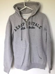 Menand039s Aeropostale Athletics Comfortable Gray Small Hoodie Distressed 1/2 Zip