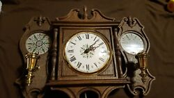 Vintage Spartus Electric Wall Clock With Matching Candle Holders