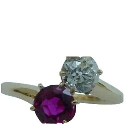 Antique Gold Ruby And Diamond Ring. Toi Et Moi. Crossover Style. Gorgeous