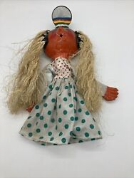 Vintage Painted Coconut Mexican Folk Art Girl Mirror Puppet