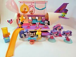 Littlest Pet Shop, Lps, Collectible Jet Airplane With Dogs, Cats, Accessories
