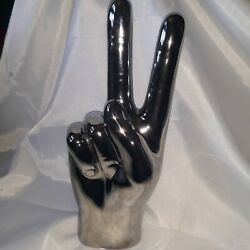 Ceramic Metallic Painted Life-size Hand Statue Of Peace Sign