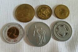 Vintage Gaming Trading Good Luck Tokens Medals Lot Of 6