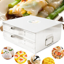 2 Tier Stainless Steel Steamer Drawer Food Cooking Bake Rice Noodle Roll Machine