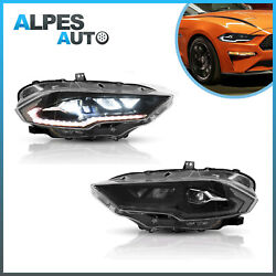 Pair Full Led Projector Headlight For 18-21 Ford Mustang Dynamic Drl Turn Signal
