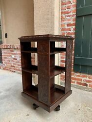 Antique English Carved Oak Revolving Rolling Bookcase Bookshelf Office Library