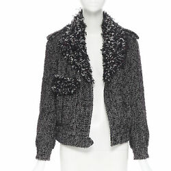 Black Red Boucle Tweed Fluffy Collar Cc Button Military Jacket Fr36 S