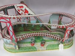 Vintage J Chein Tin Roller Coaster Large Toy Wind Up W / Cars  551-f