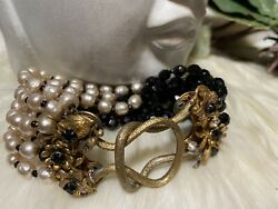 Miriam Haskell Rare Two Tone Pearl And Jet Black Glass Bracelet, Rare Clasp A18