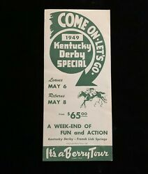 1949 Kentucky Derby Special Souvenir Berry Tour Railroad To French Lick Springs