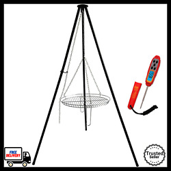 30 Tripod Campfire Grill Cooking Portable Griller W/ Digital Meat Thermometer