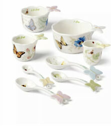 Lenox Butterfly Meadow Porcelain Measuring Cup Set And Measuring Spoon Set New