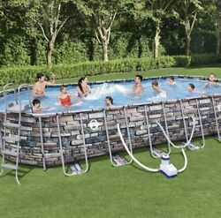 Bestway Coleman 26' X 52 Power Steel Oval Above Ground Pool Set With Wifi Pump