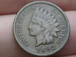 1892 Indian Head Cent Penny- Fine/vf Details Partial Liberty