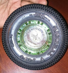 Vintage Mexican General Popo Tire Ashtray Soft Rubber - Glass Green 4 3/4