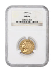 1909 5 Ngc Ms62 - Indian Half Eagle - Gold Coin - Great Type Coin