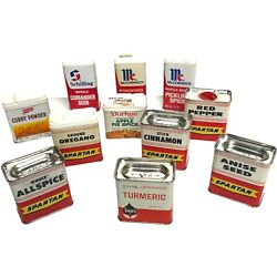 Vintage Spice Tin Lot Of 11 Various Spices Spartan Mccormick Shilling W Spice