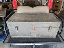 Vintage 1946 Military Wwii Footlocker Sky Way By Seattle Luggage Company
