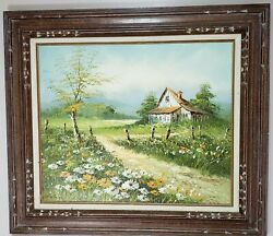 Original Oil Painting Signed By Artist Henderson Daisies Country Farmhouse