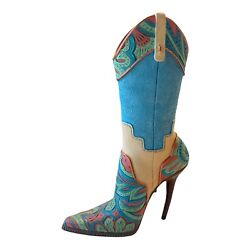 Paisley West Southwestern Big Sky Pink-turquoise Spike Boot Just The Right Shoe