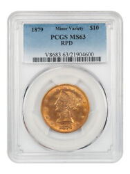 1879 10 Pcgs Ms63 Repunched Date Popular Issue - Liberty Eagle - Gold Coin