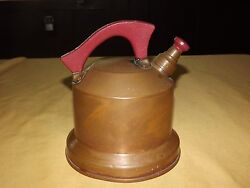 Vintage 7 1/2 High Red Wood Handle Copper Teapot