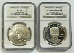 Lot Of 2 Coins 1998 S Robert F Kennedy 1 Ngc Ms70 And Pr70 Ultra Cameo