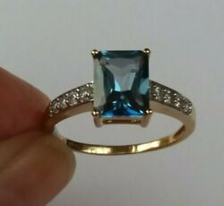 Blue Topaz Ring 9ct Y Gold - Certificated - Fab Rich Colour 3+ Carats - New