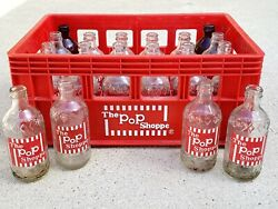 Vintage 1970's The Pop Shoppe Soda Glass 10oz Bottles With Crate