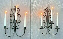 VTG Wrought Iron Wall Sconce 3 Candle Holder Arm Scroll Black set of 2
