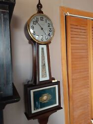 New Haven Banjo Wall Clock 8 Day Time Only Waring Model Working C1920