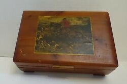 Bg-bx Vintage Wood Box With Applied Print Of Fox Hunting As Is Finish